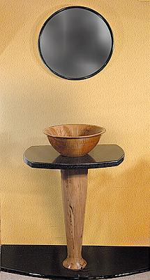 sink curly maple top black granite pedestal spalted maple custom order